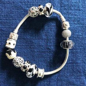Authentic B&W Sterling Silver Pandora Bracelet